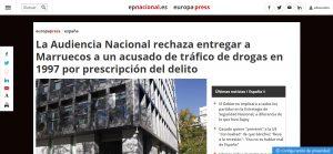 La Audiencia Nacional rechaza entregar a Marruecos a un acusado de tráfico de drogas en 1997 por prescripción del delito