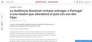 La Audiencia Nacional rechaza entregar a Portugal a una madre que abandonó el país con sus dos hijos