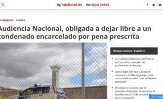 La Audiencia Nacional, obligada a dejar libre a un condenado encarcelado por pena prescrita hace más de 3 años.