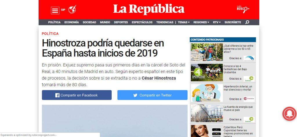 hinostroza quedarse en España