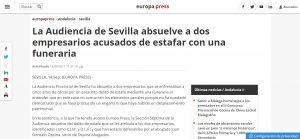 La Audiencia de Sevilla absuelve a dos empresarios acusados de estafar con una funeraria