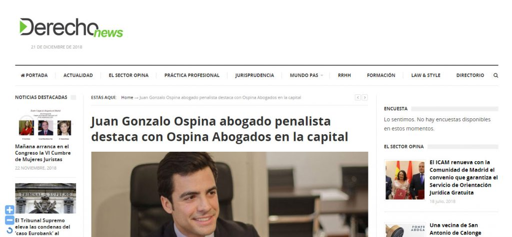 Juan Gonzalo Ospina abogado penalista destaca con Ospina Abogados en la capital
