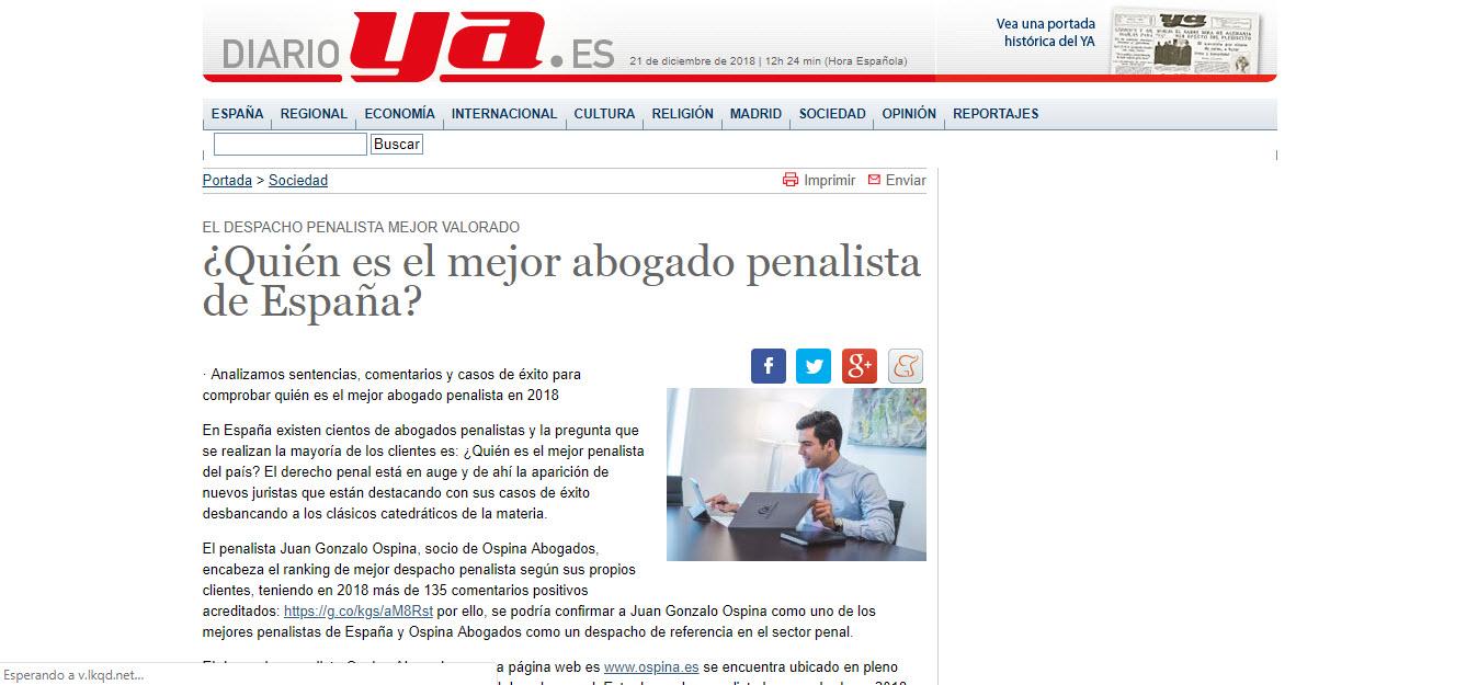 Diario Ya.es el mejor abogado penalista de España