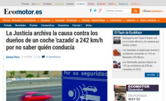 La Justicia archiva la causa contra los dueños de un coche 'cazado' a 242 km/h por no saber quién conducía