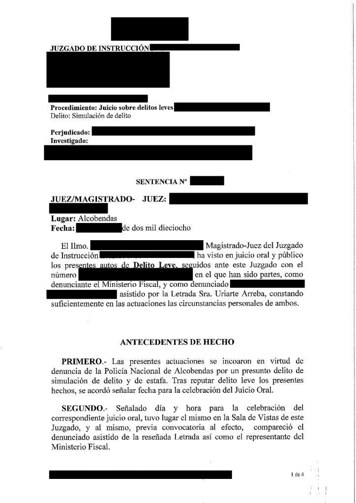 sentencia absolucion simulacion delito