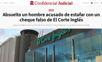 Absuelto un hombre acusado de estafar con un cheque falso de El Corte Inglés