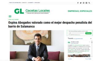 Ospina Abogados valorado como el mejor despacho penalista del barrio de Salamanca