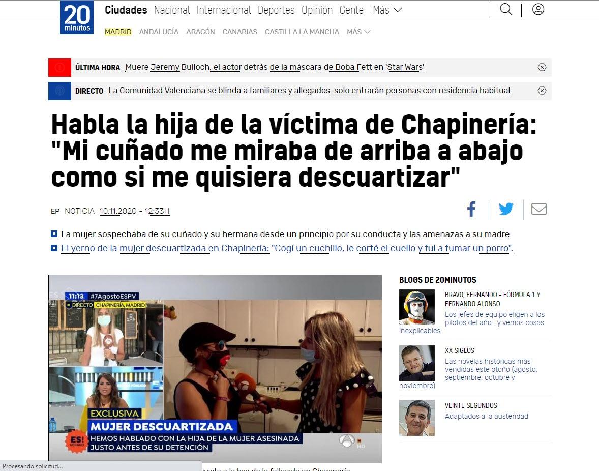 """Habla la hija de la víctima de Chapinería: """"Mi cuñado me miraba de arriba a abajo como si me quisiera descuartizar"""""""