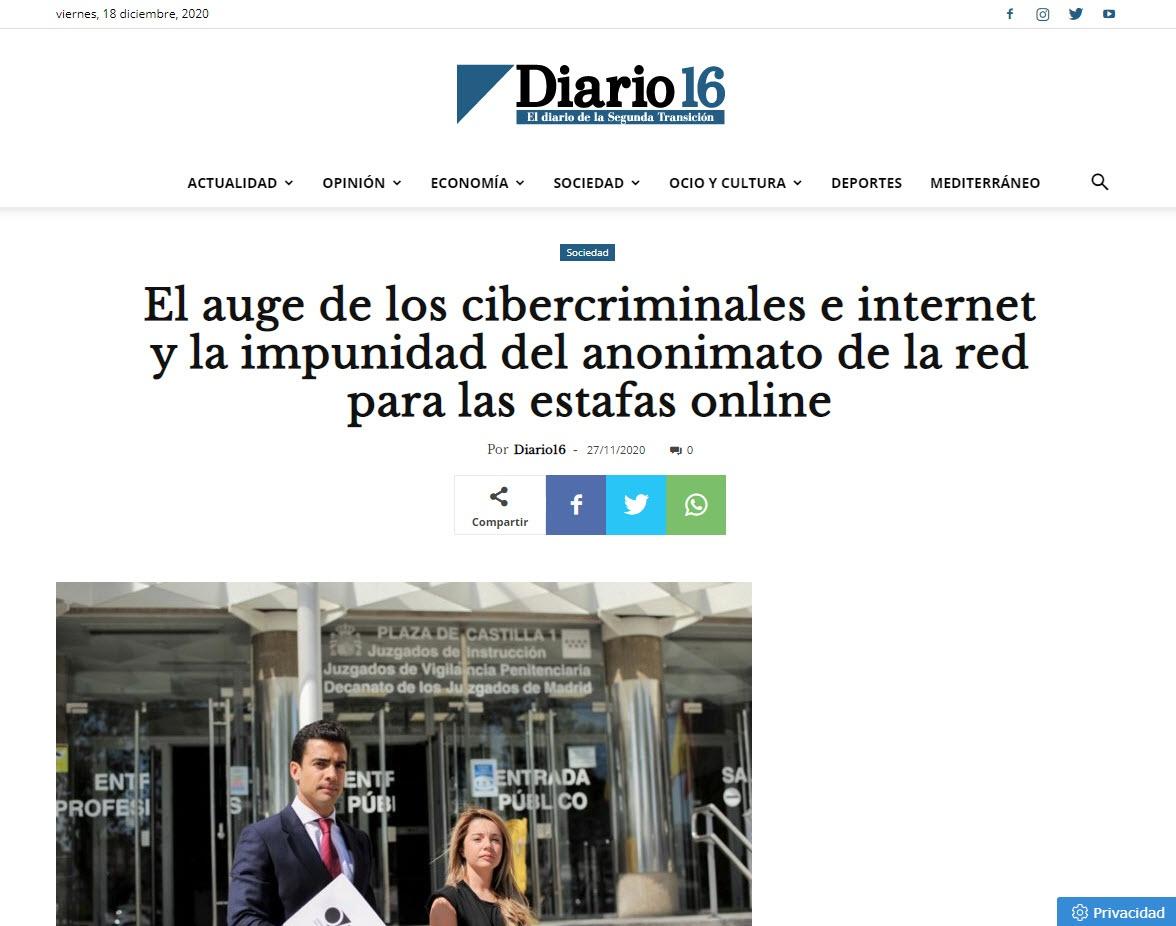 El auge de los cibercriminales e internet y la impunidad del anonimato de la red para las estafas online