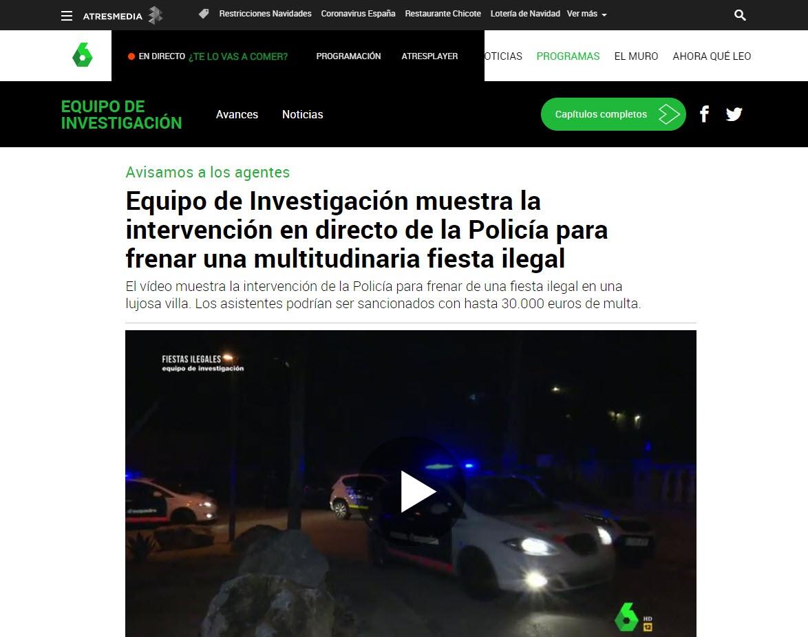 Equipo de Investigación muestra la intervención en directo de la Policía para frenar una multitudinaria fiesta ilegal