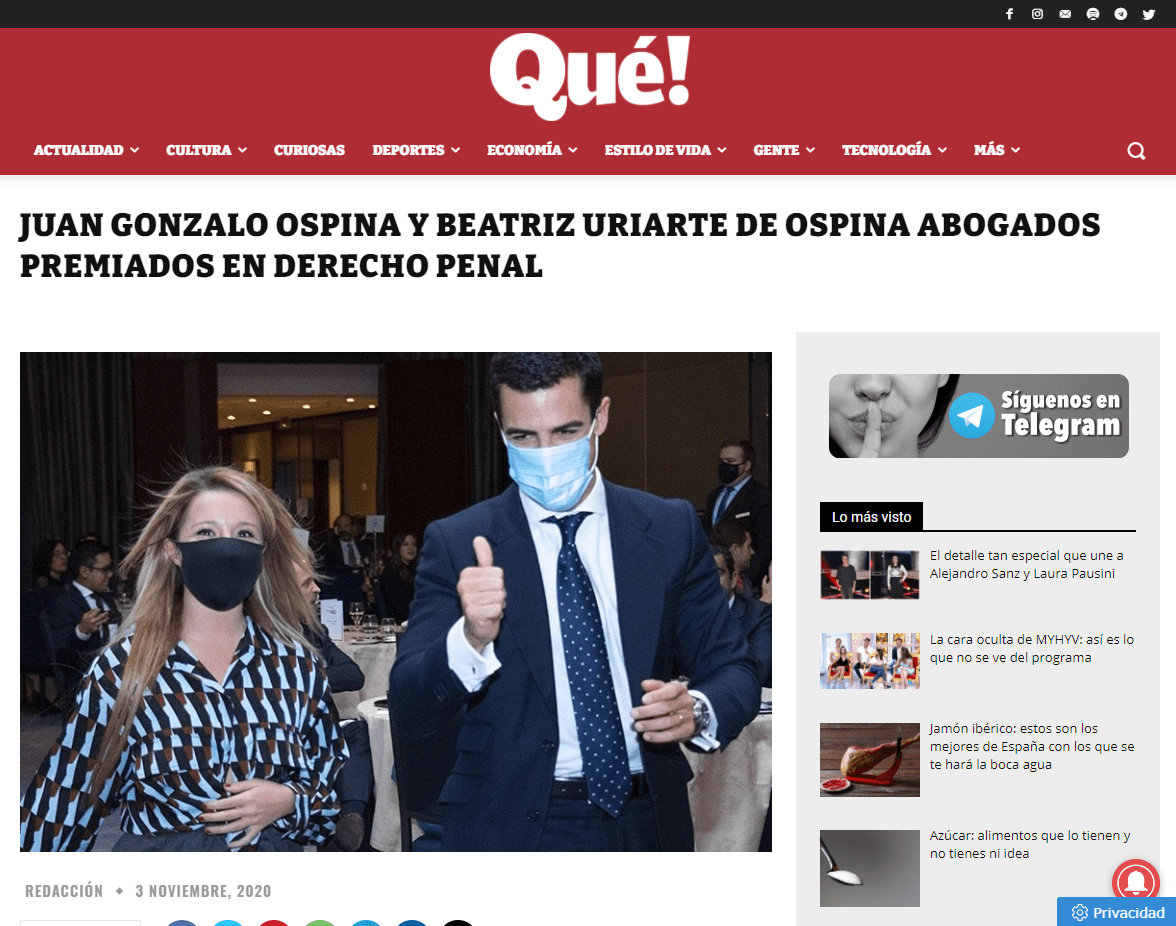 Juan Gonzalo Ospina y Beatriz Uriarte de Ospina Abogados premiados en el derecho penal