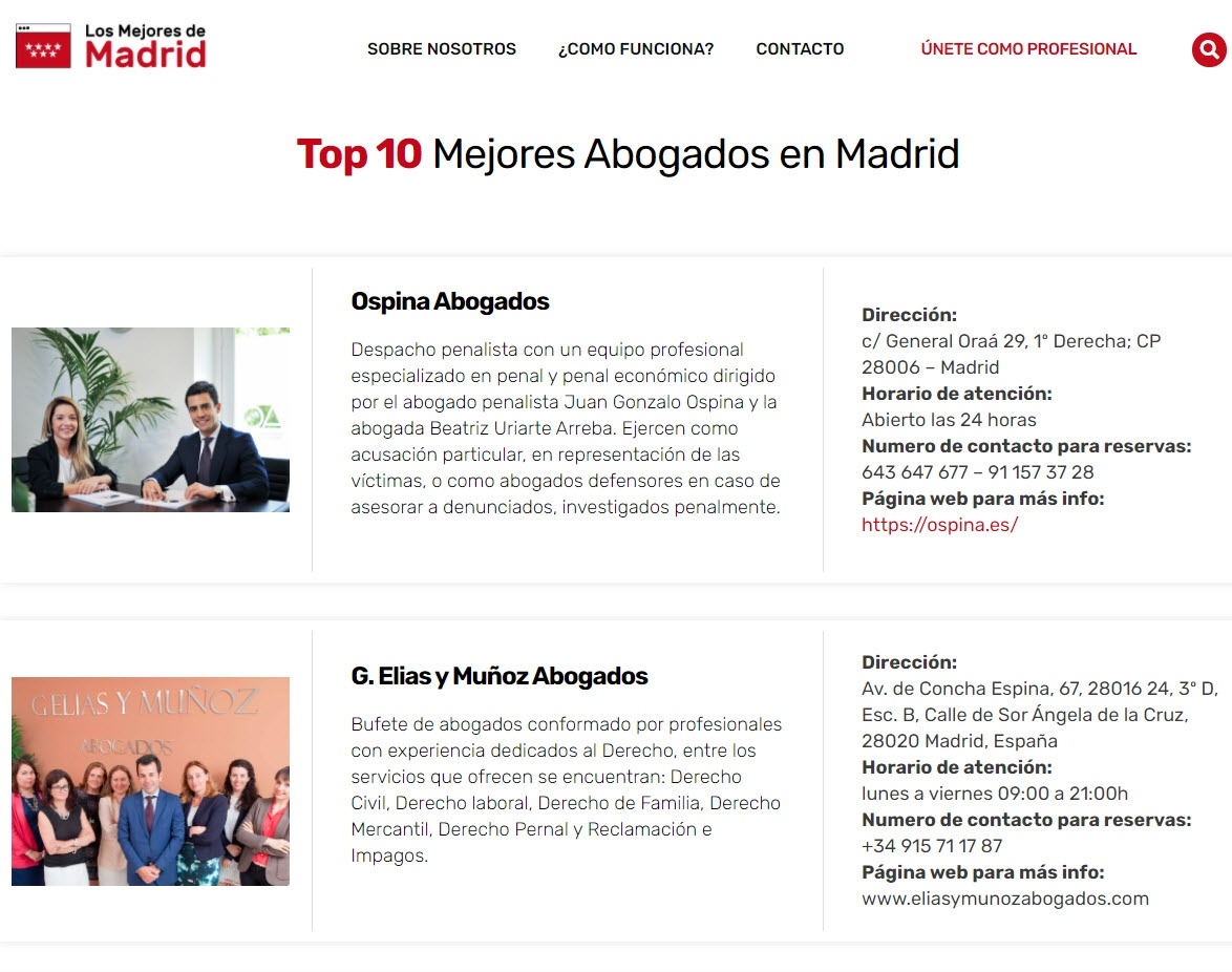 Los Mejores Abogados en Madrid
