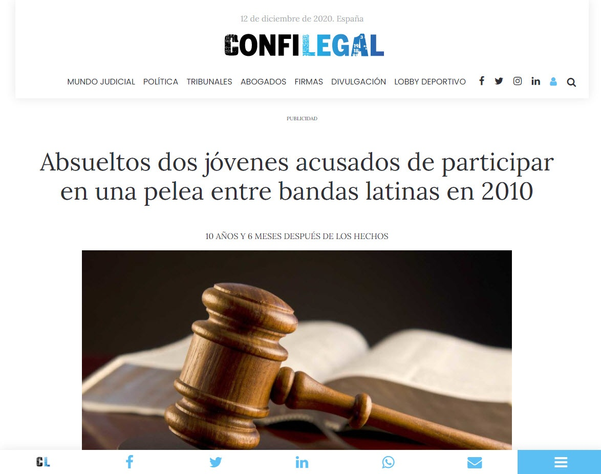 Absueltos dos jóvenes acusados de participar en una pelea entre bandas latinas en 2010