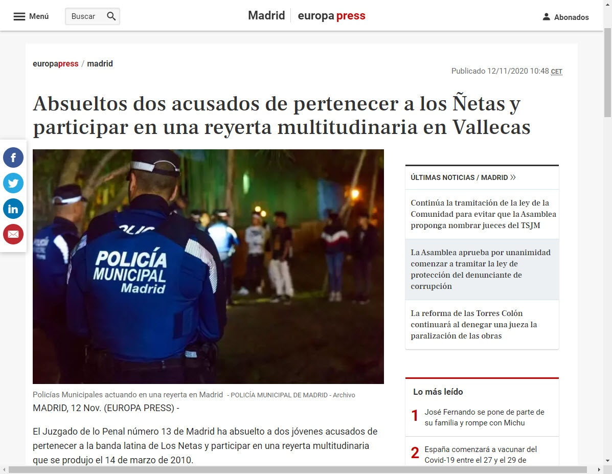 Absueltos dos acusados de pertenecer a los Ñetas y participar en una reyerta multitudinaria en Vallecas