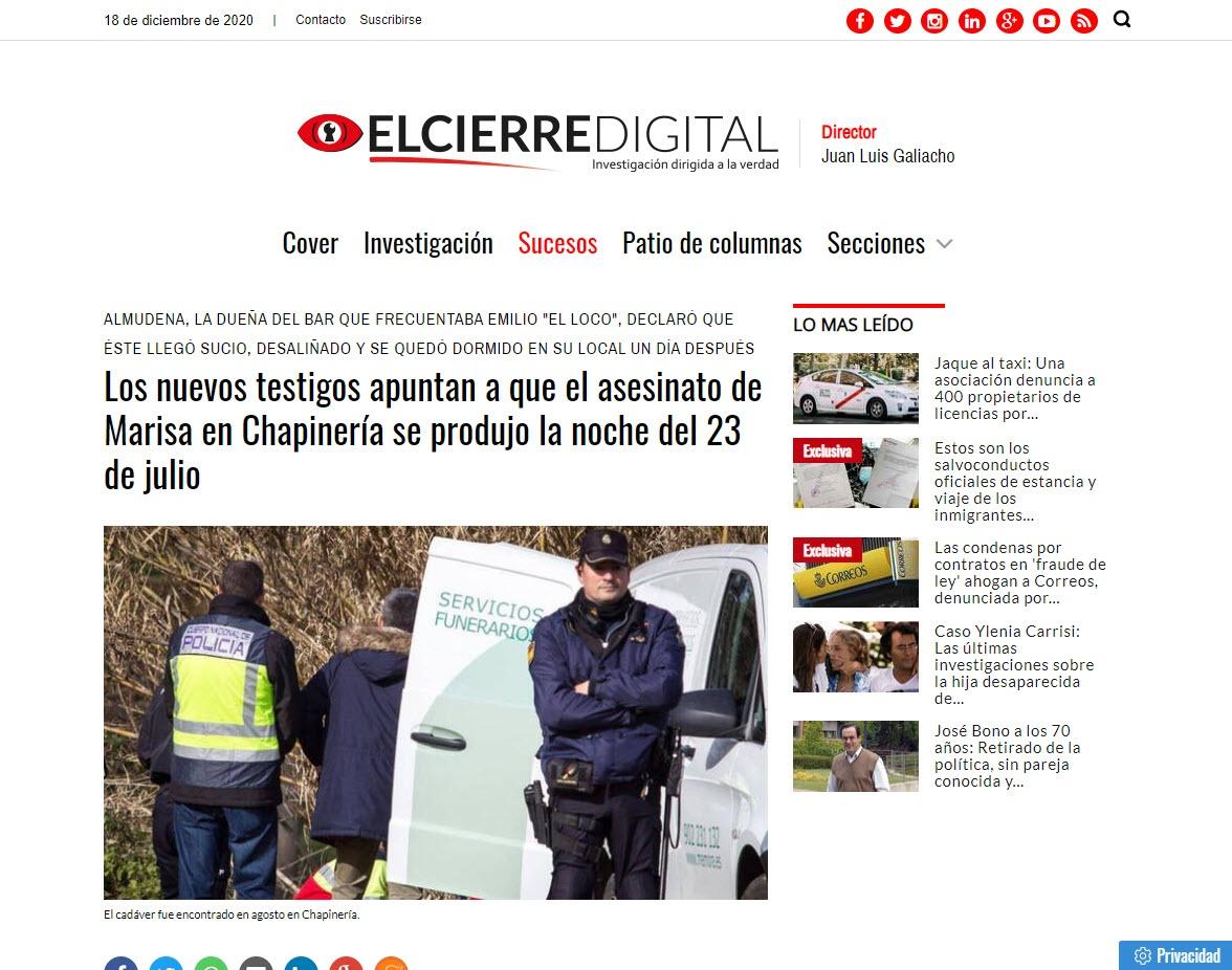 Los nuevos testigos apuntan a que el asesinato de Marisa en Chapinería se produjo la noche del 23 de julio