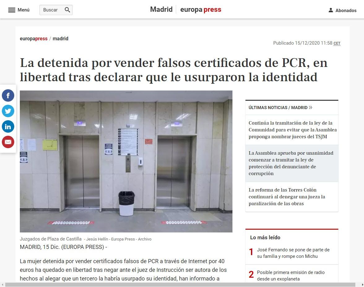 La detenida por vender falsos certificados de PCR, en libertad tras declarar que le usurparon la identidad