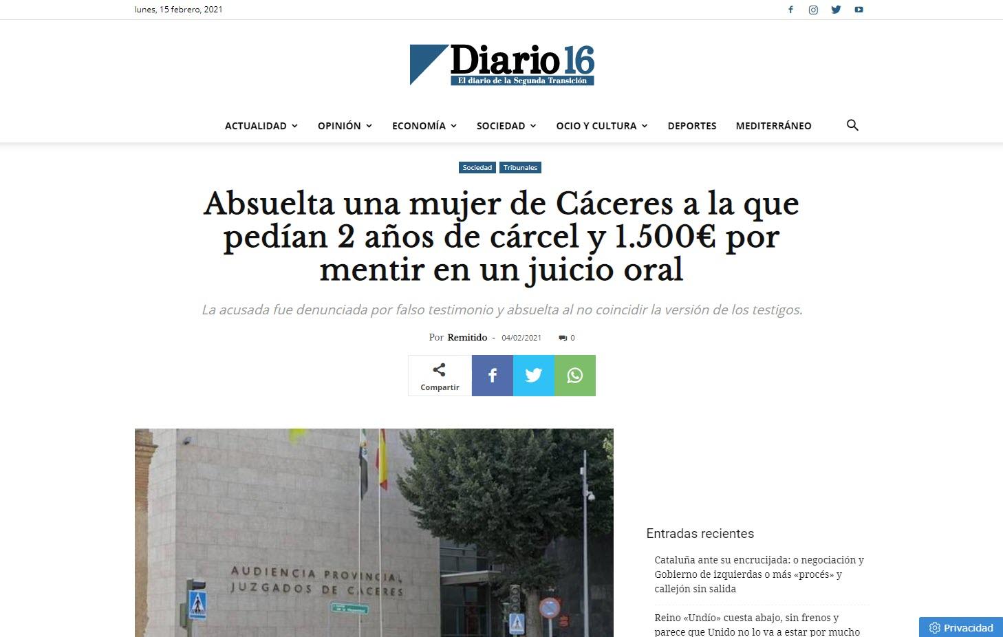 Absuelta una mujer de Cáceres a la que pedían 2 años de cárcel y 1.500€ por mentir en un juicio oral
