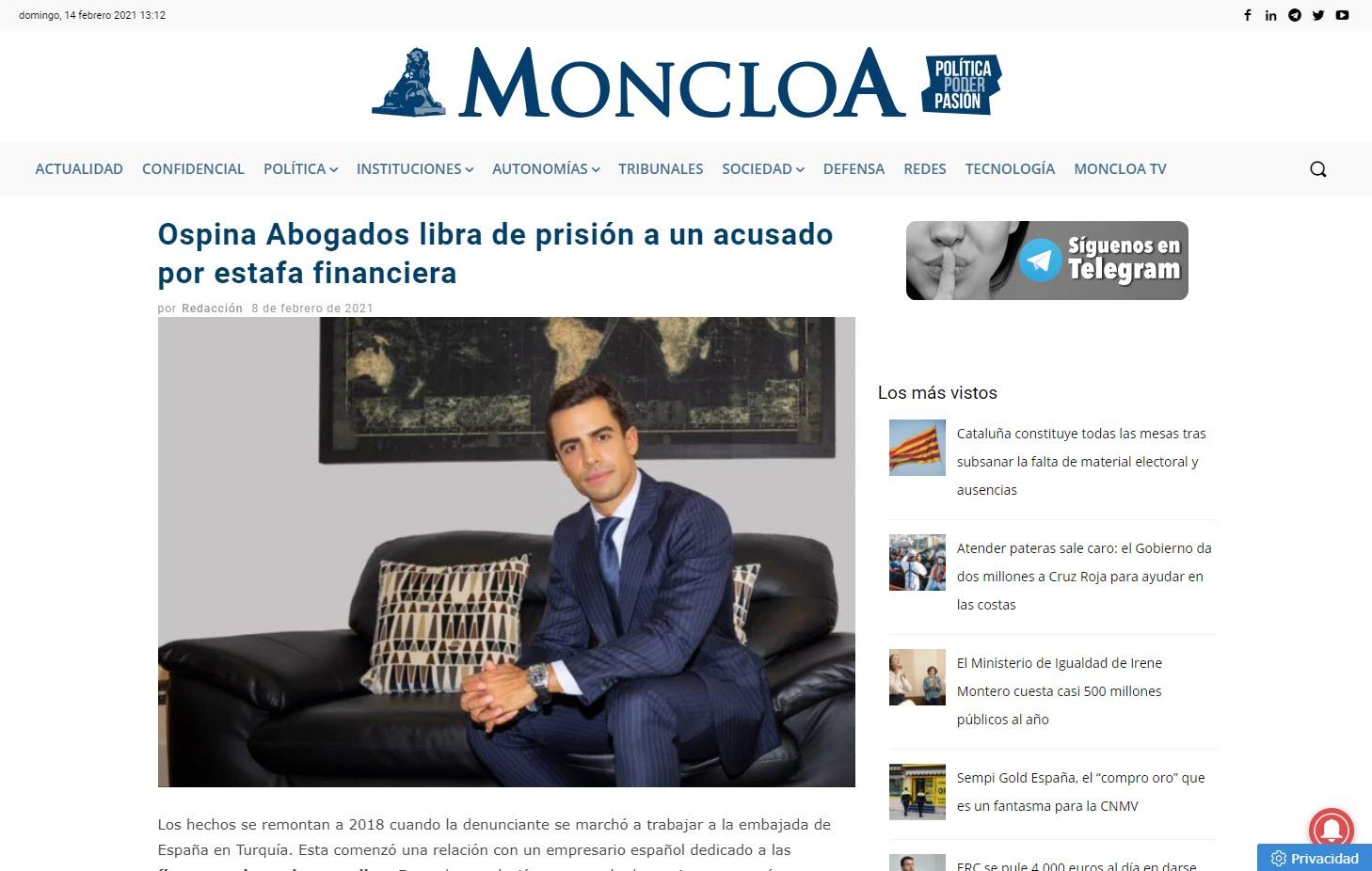 Ospina Abogados libra de prisión a un acusado por estafa financiera